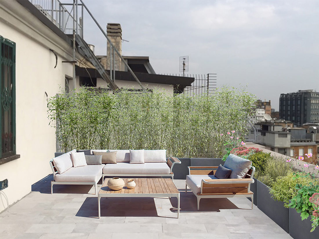 Progetto di giardino pensile per terrazzo a milano - Progettazione terrazzi milano ...