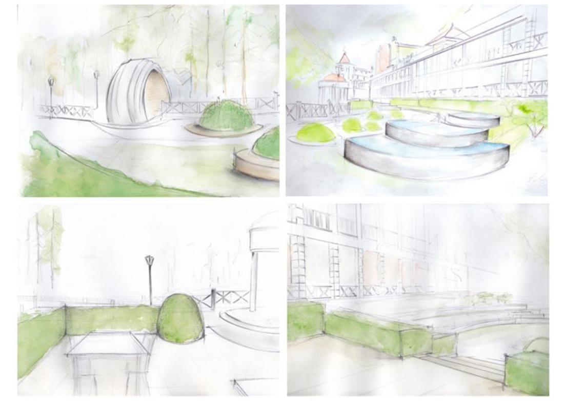 Hotel in georgia: progetto di giardino privato