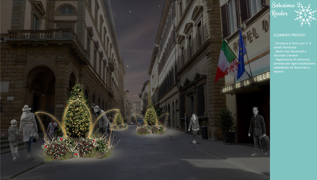 progetto di addobbi natalizi per via Tornabuoni, Firenze