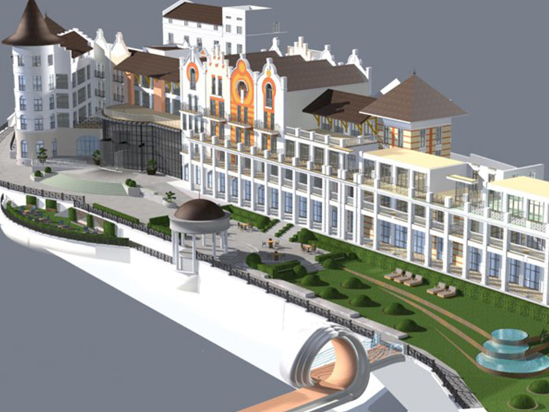 realizzazione giardino per hotel in Georgia